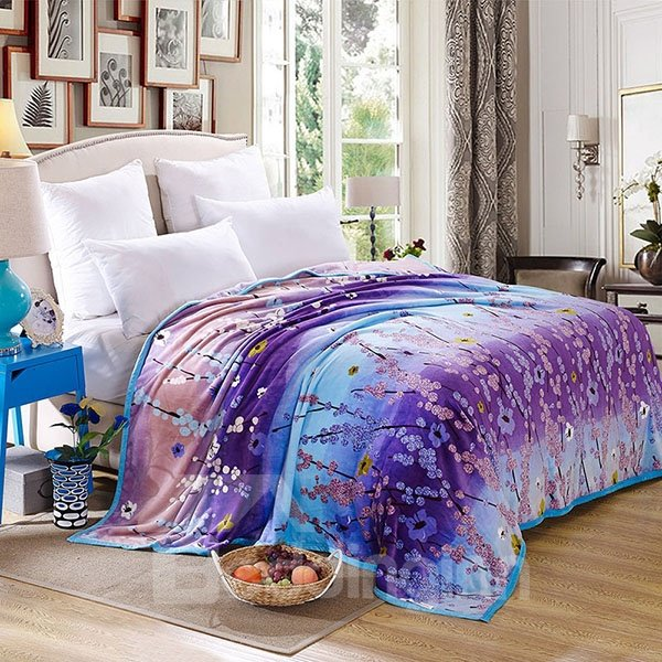 Colorful Wintersweet Printed Anti-Pilling Flannel Bed Blanket