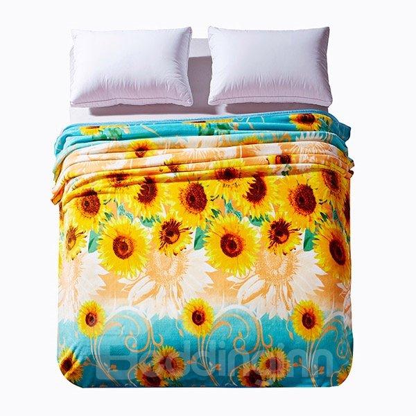 Bright Yellow Sunflowers Print Anti-Pilling Blanket
