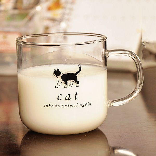 Cute Animal Pattern Glass Milk Cup Drinking Cup