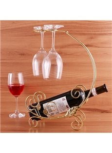 Wonderful Golden Float Design Wine Rack with 2-Glass Holder