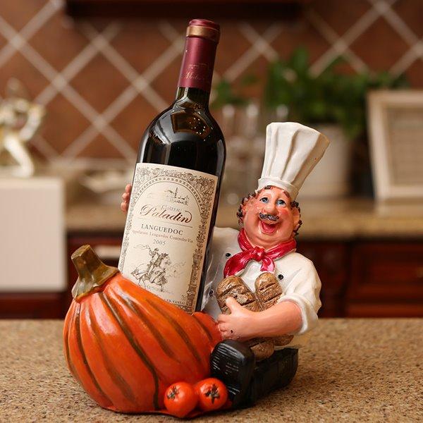 Creative Chef and Pumpkin Design Resin Wine Rack
