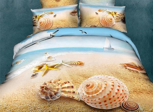 Starfish Shell on Beach Print Cotton Fitted Sheet