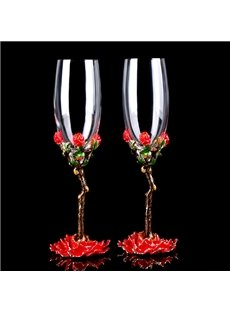 Unqie Enamel Champagne Wine Glasses 1-Pair Wedding Gift
