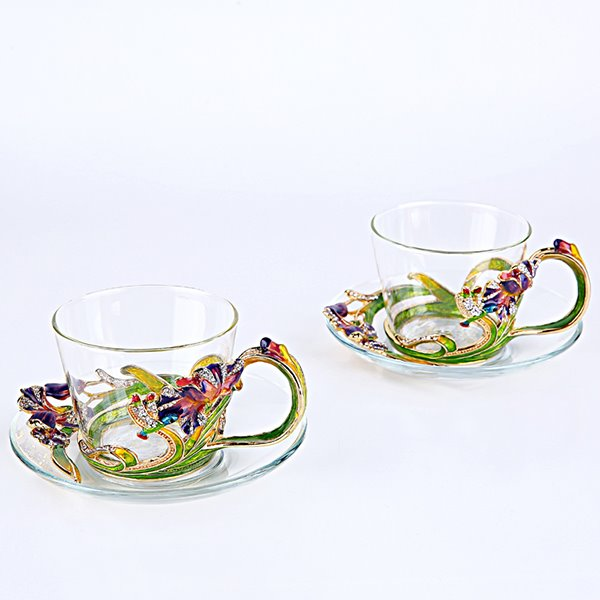 Gorgeous Enamel Iris Decorative Glass Coffee Cup 1-Piece