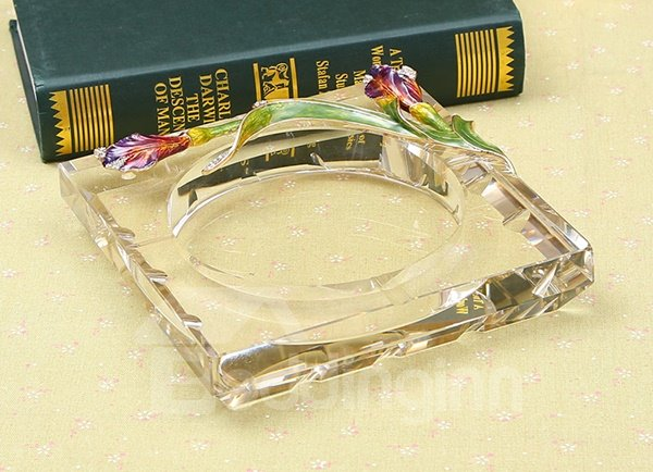 Fabulous Crystal Iris Pattern Ashtray Gift Idea