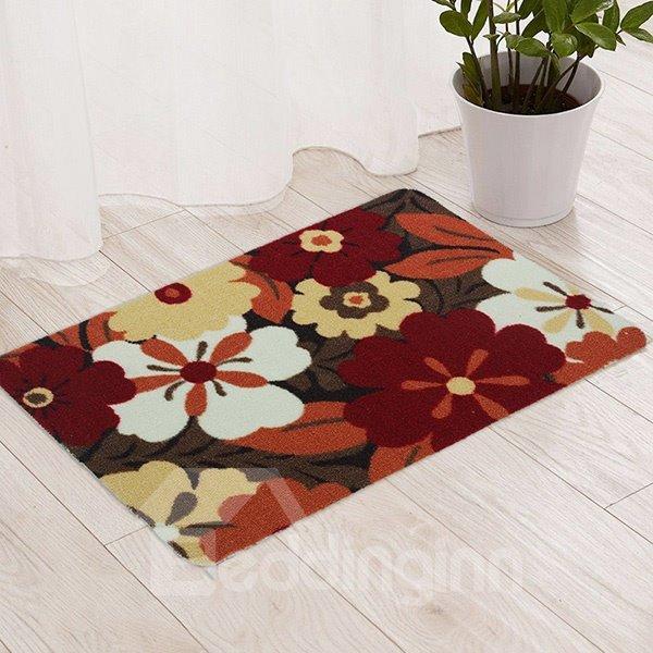 Colorful Flowers Pattern Bedroom Living Room Anti-slipping Doormat