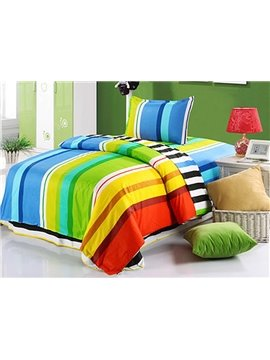 Bright Color Stripes Pattern Purified Cotton Kids 3-Piece Duvet Cover Sets