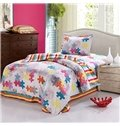 Amazing Puzzle Print Stripes Pattern Purified Cotton Kids 3-Piece Duvet Cover Sets