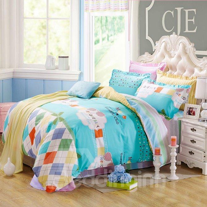 Trendy Plaid snad Letters Pattern Kids Cotton 4-Piece Duvet Cover Sets