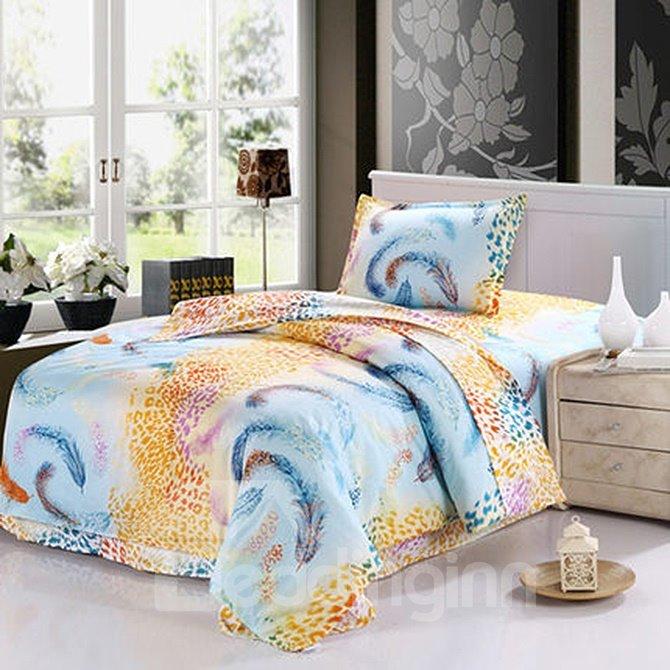 Romantic Feather Pattern Purified Cotton Kids 3-Piece Duvet Cover Sets