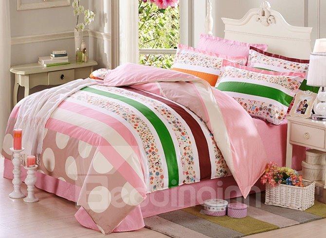Tiny Flowers Pattern 100% Cotton Girls 4-Piece Duvet Cover Sets