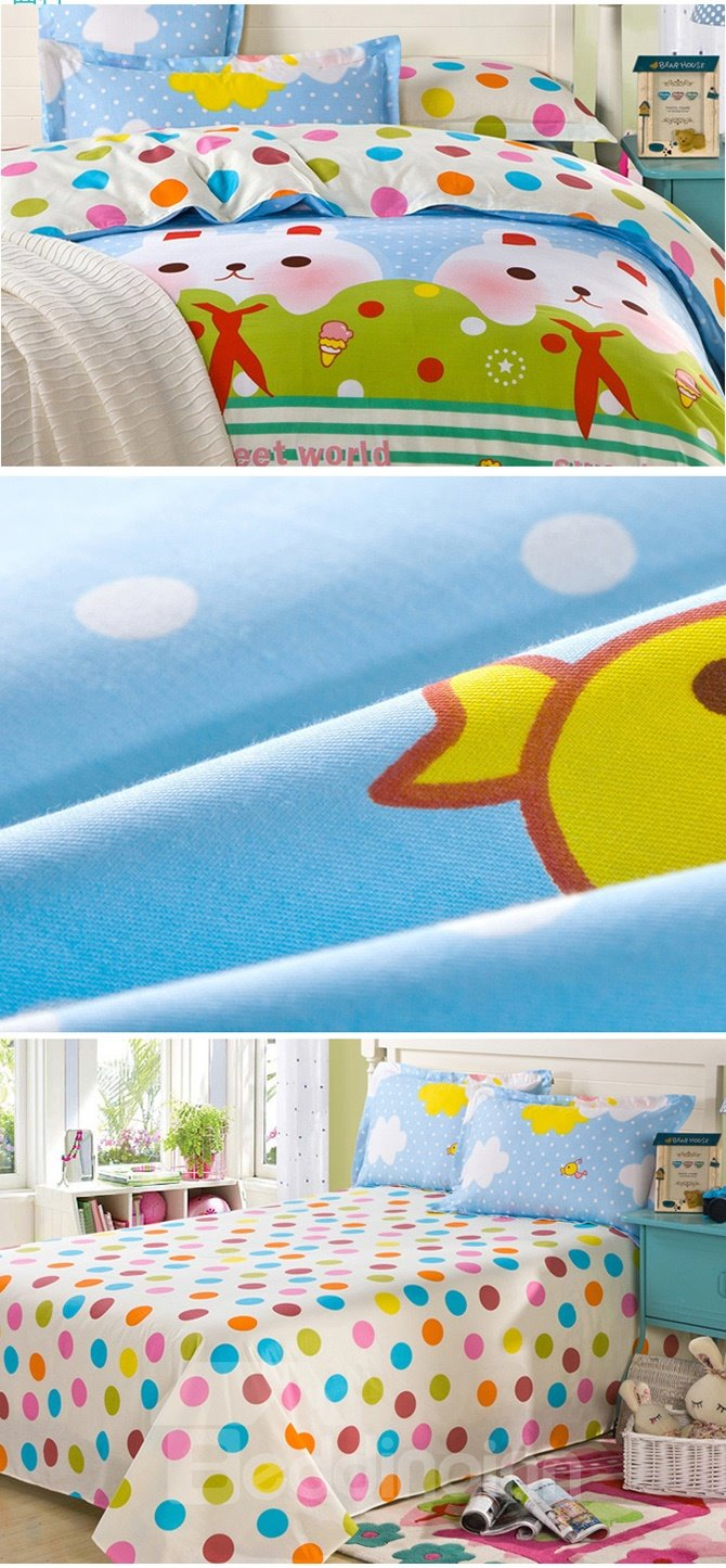Childhood Dream Rabbit Pattern 100% Cotton Girls 4-Piece Duvet Cover Sets