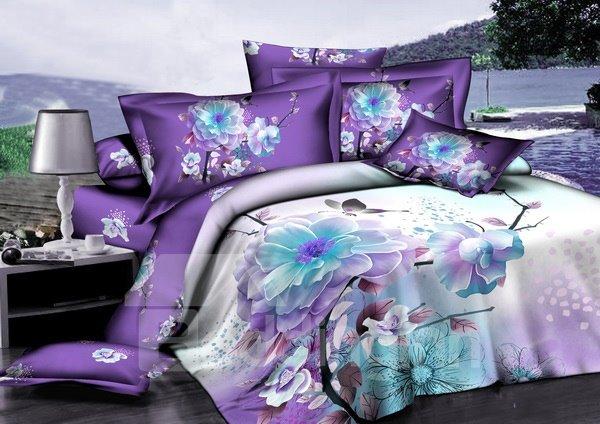 Purple Floral 100% Cotton 2-Piece Pillow Cases