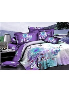 Purple Floral 100% Cotton 2-Piece Pillow Cases