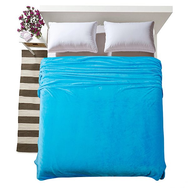 Concise Solid Colored Pure Blue Flannel Blanket