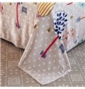 Cartoon Trees Polka Dot Printed Gray Flannel Blanket