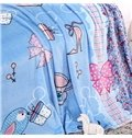 Bowknot Printed Princess Style Blue Flannel Blanket