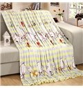 Cartoon White Puppies Stripes Print Flannel Blanket