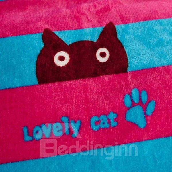 Adorable Cat Stripes Printed Flannel Bed Blanket