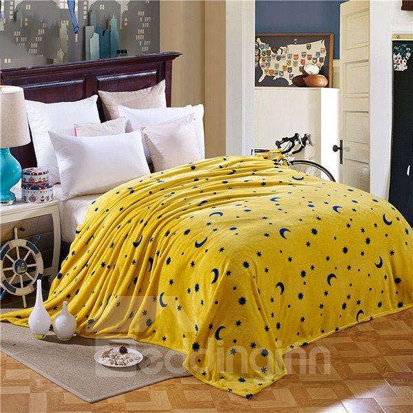 Stars and Moon Print Yellow Flannel Blanket