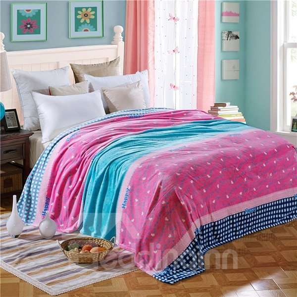 Lovely Hearts Printed Cozy Flannel Bed Blanket
