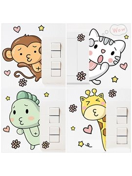 Creative Cartoon Animals Switch Removable Wall Sticker 1 Set