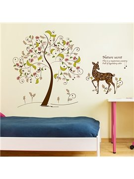 Wonderful Cartoon Tree and Deer Pattern Nursery Removable Wall Sticker
