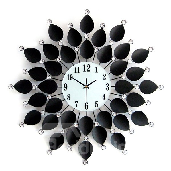 Black Flower Leaves Diamond Hanging Wall Clock