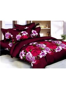Rose and Lily 3D Printed Burgundy 4-Piece Cotton Duvet Cover Sets