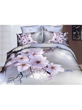 3D_White_Cherry_Blossom_Printed_Cotton_4Piece_Bedding_SetsDuvet_Covers