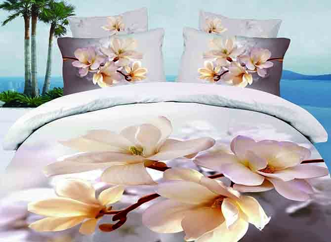 Elegant Magnolia Printing 4 Pieces Duvet Cover Sets