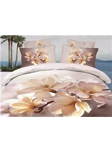 3D Blooming Magnolia Printed Cotton 4-Piece Bedding Sets/Duvet Cover