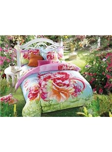 Vibrant Blooming Peonies Printing Skincare Cotton 4-Piece Duvet Cover Sets