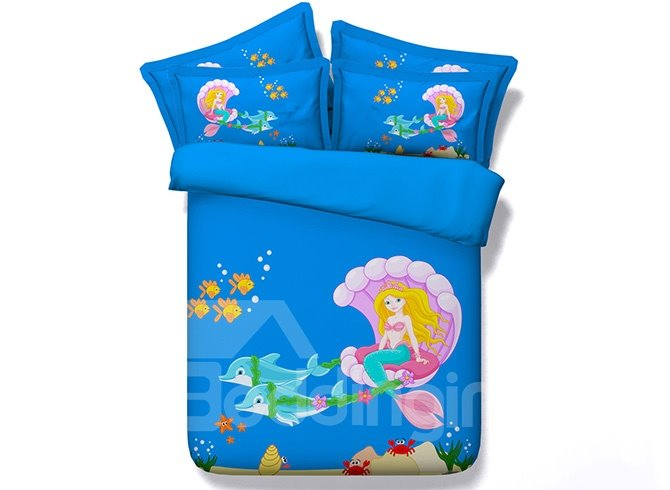 Beautiful Cartoon Mermaid Digital Printing Blue 5-Piece Comforter Sets