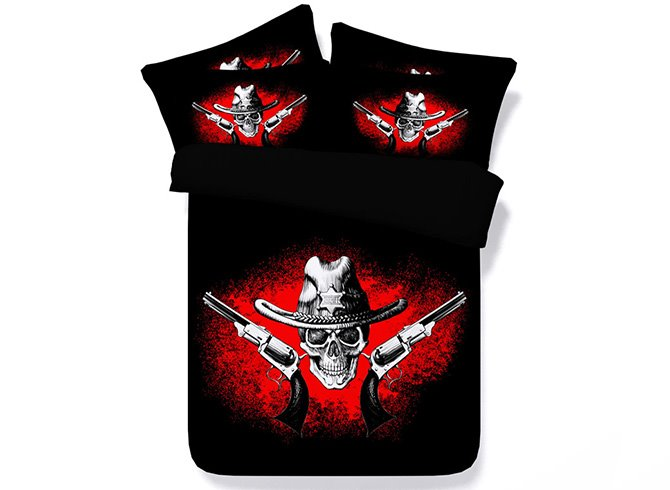 Skull and Gun Digital Printing 5-Piece Black Comforter Sets