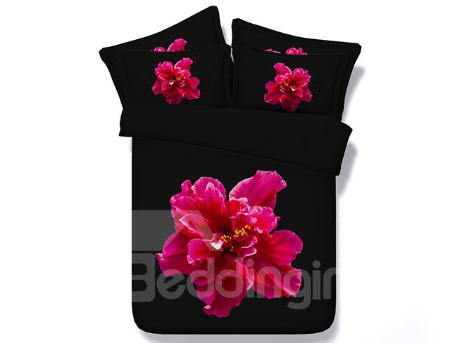Bright Red Flower with Black Ground 5-Piece Comforter Sets