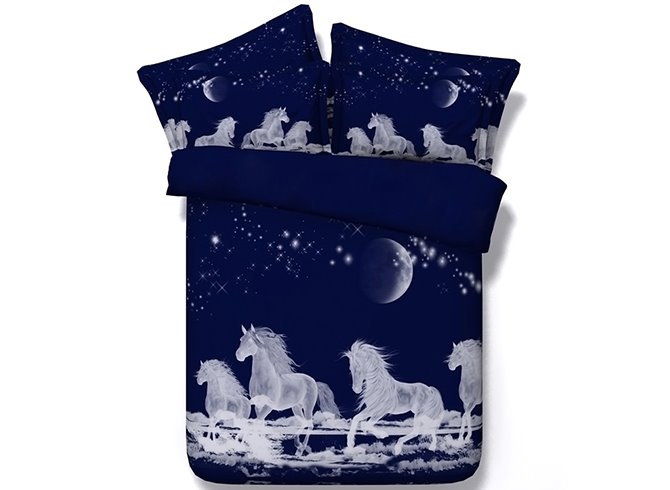 3D Running Horses under Moonlight Printed 5-Piece Comforter Sets