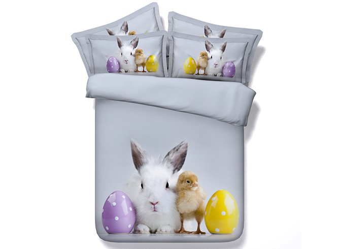 3D Easter Rabbit and Chick Printed Cotton 4-Piece Bedding Sets/Duvet Covers