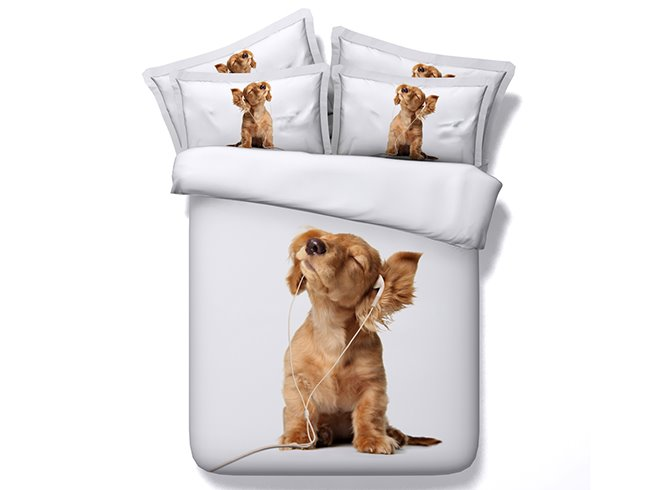 3D Puppy Listening to Music Printed Cotton 4-Piece White Bedding Sets/Duvet Covers