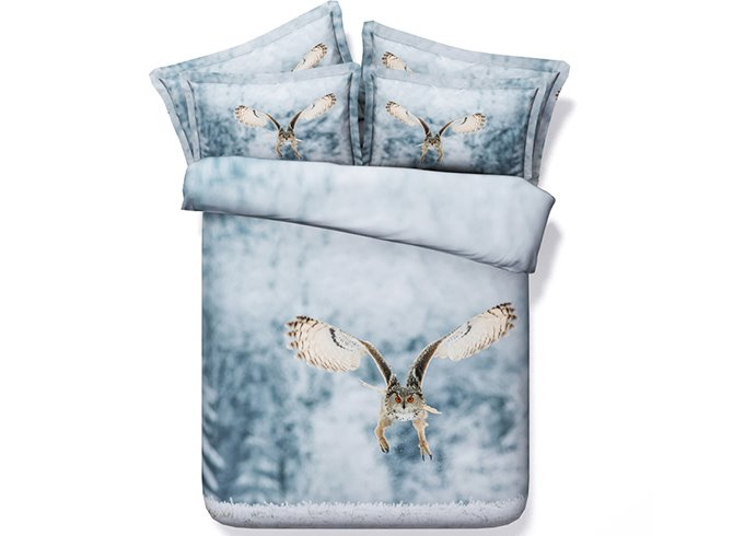 3D Flying Owl Printed Cotton 4-Piece Bedding Sets/Duvet Covers