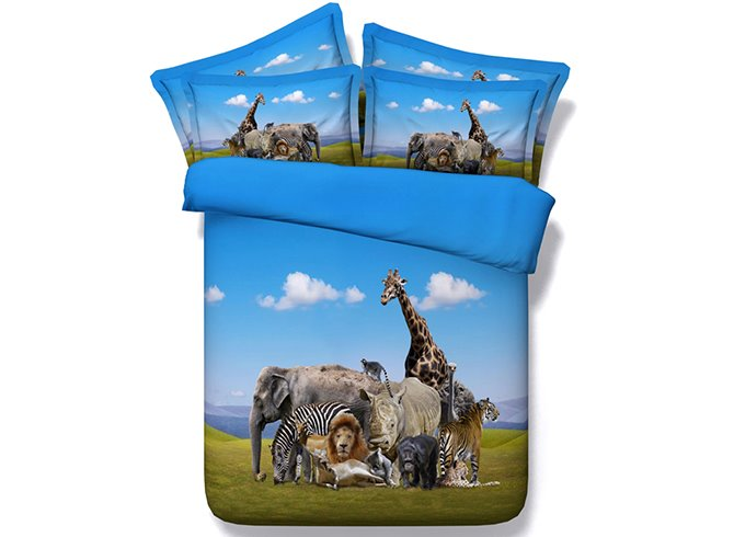 3D Menagerie Animal under Blue Sky Printed Cotton 4-Piece Bedding Sets/Duvet Covers