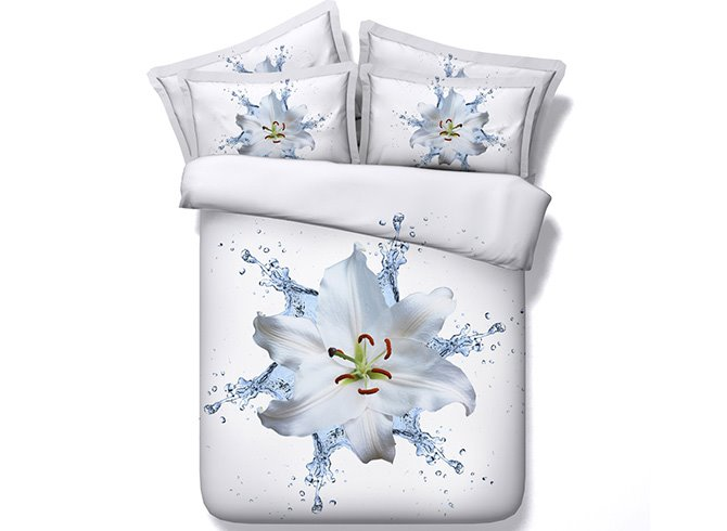 Dewy Lily Digital Printing White 4-Piece Duvet Cover Sets