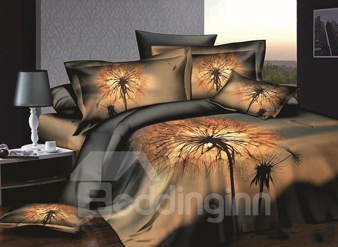 Dandelion Printing Skincare Cotton 4-Piece Duvet Cover Sets