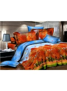 Autumn Forest Scenery Printing 4-Piece Duvet Cover Sets