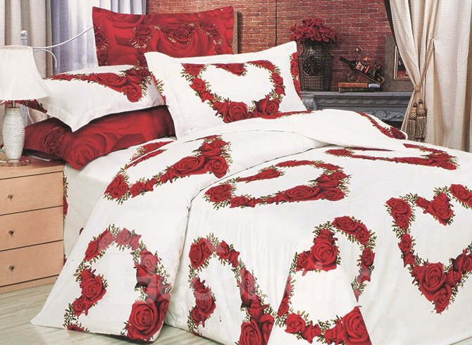 3D Heart-shaped Red Roses Printed Cotton 4-Piece White Bedding Sets/Duvet Covers