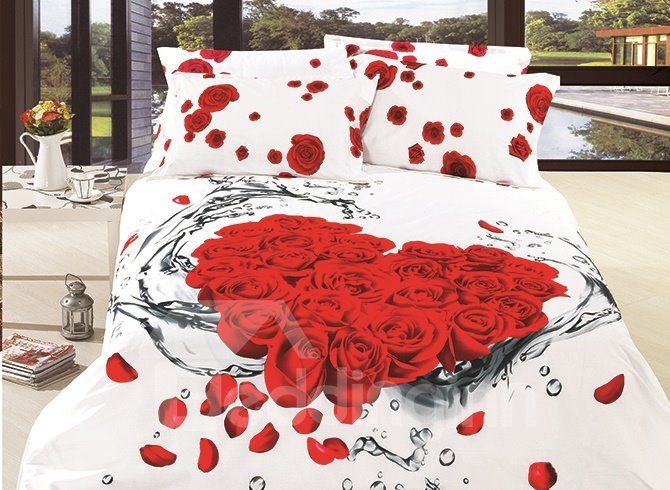 3D Dewy Red Roses and Petals Printed Cotton 4-Piece Bedding Sets