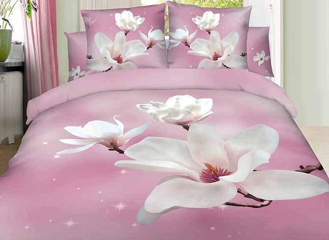 3D White Magnolia Printed Cotton 4-Piece Light Pink Bedding Sets/Duvet Covers