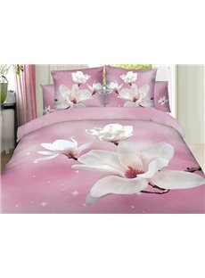 100% Cotton White Magnolia 3D Printed 4-Piece Duvet Cover Sets