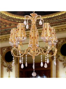 Bohemia Gold-plating Crystal 5-Head Chandelier