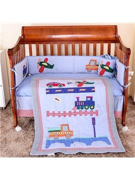 Super Lovely Plane Train and Truck Pattern 8-Piece Crib Bedding Sets